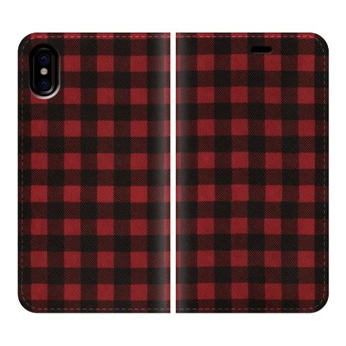 iPhone X ケース 手帳型ケース Gingham-Red iPhone X_0