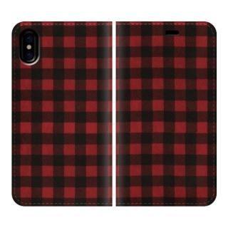 手帳型ケース Gingham-Red iPhone X