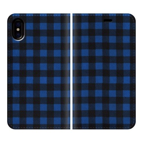 iPhone X ケース 手帳型ケース Gingham-Blue iPhone X_0