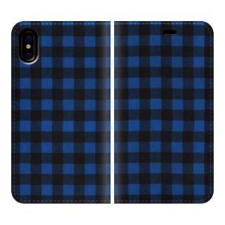 手帳型ケース Gingham-Blue iPhone X