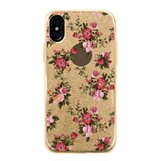 iPhone X ケース グリッターケース Flower garden iPhone X