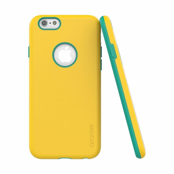 ツートンカラーケース araree AMY イエロー/エメラルド iPhone 6ケース