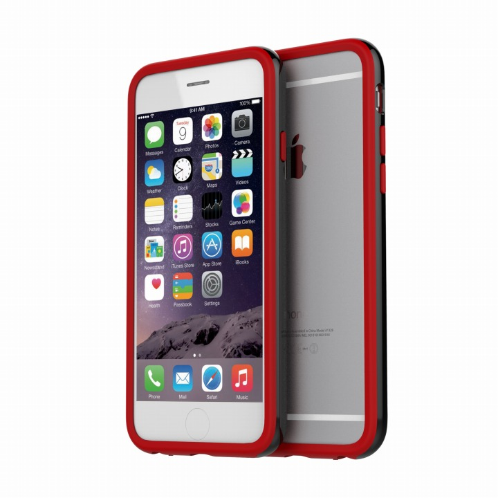 ツートンカラーバンパー araree HUE ブラック/レッド iPhone 6バンパー