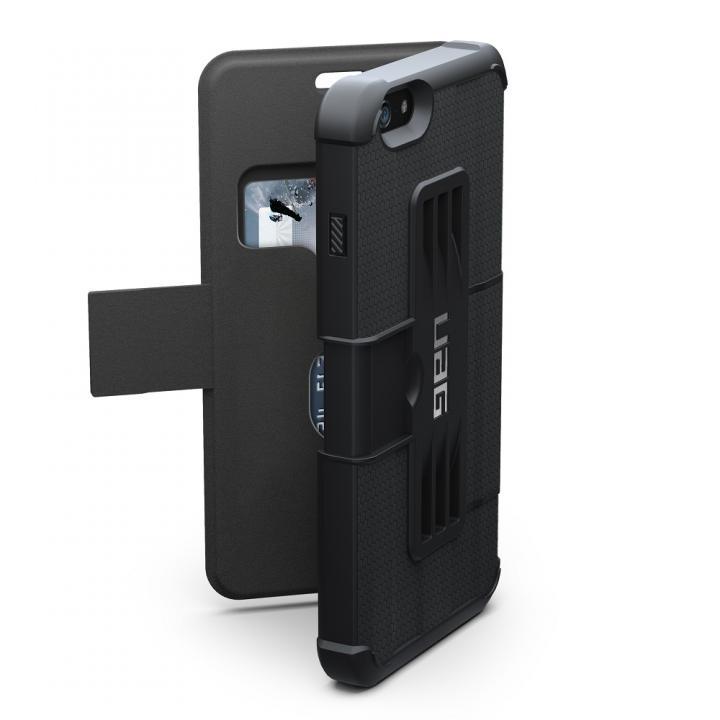 iPhone6 Plus ケース あらゆる方向の衝撃を緩和 UAG 耐衝撃性手帳型ケース ブラック iPhone 6 Plusケース_0