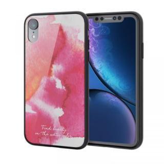 iPhone XR ケース ハイブリッド強化ガラスケース 背面カラー ウォーターカラー ピンク iPhone XR