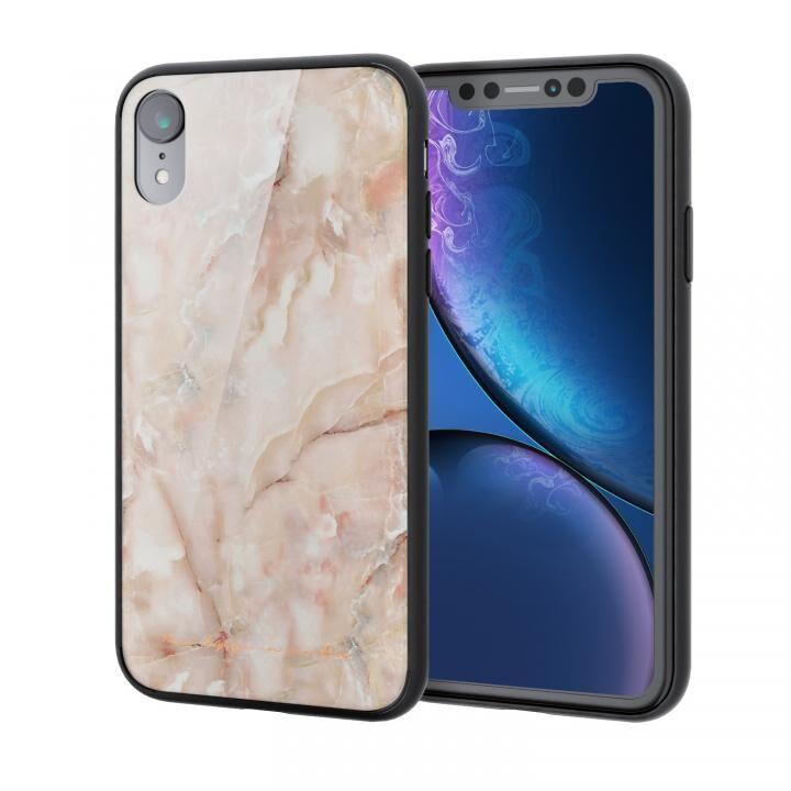 iPhone XR ケース ハイブリッド強化ガラスケース 背面カラー ストーン ピンク iPhone XR_0