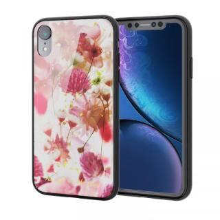 iPhone XR ケース ハイブリッド強化ガラスケース 背面カラー バーバリウム ピンク iPhone XR