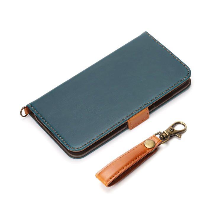 フリップカバー PUレザーダメージ加工 ブルー iPhone 12 mini_0