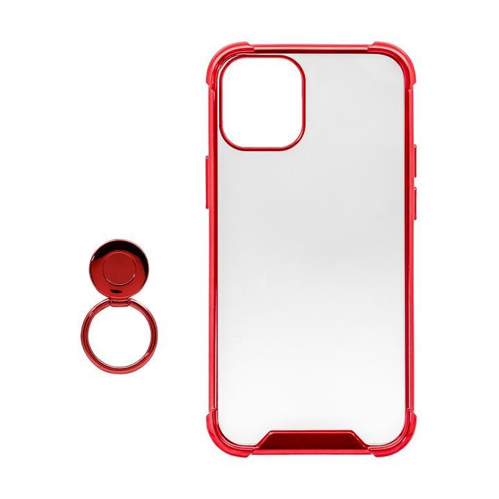 リング付ハイブリッド耐衝撃ケース レッド iPhone 12 mini_0