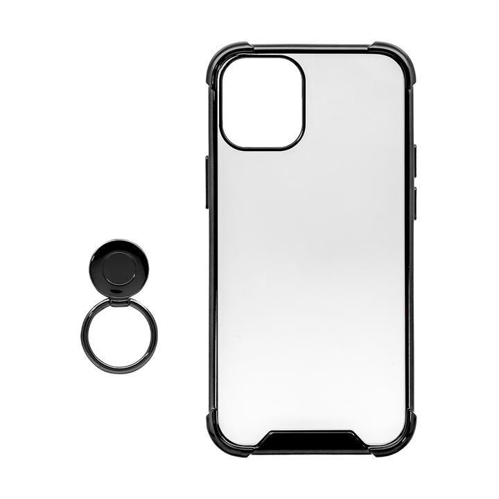 リング付ハイブリッド耐衝撃ケース ブラック iPhone 12 mini_0