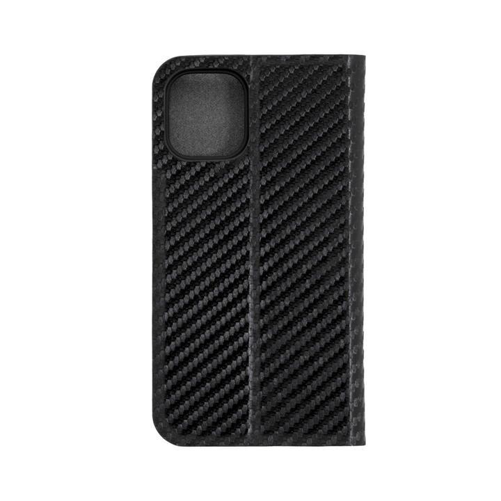 手帳型ケース カーボン柄 ブラック iPhone 12 mini_0