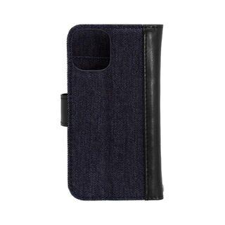 iPhone 12 mini (5.4インチ) ケース 手帳型ケース インディゴブルーxブラック iPhone 12 mini