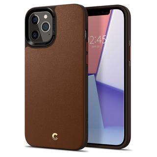 iPhone 12 Pro Max (6.7インチ) ケース Spigen Leather Brick Saddle Brown iPhone 12 Pro Max