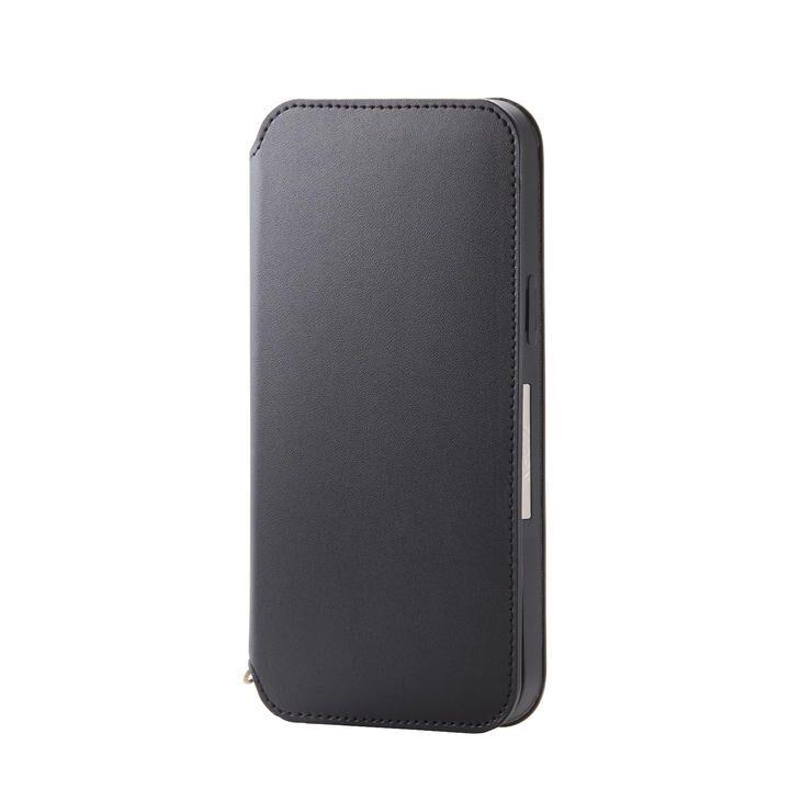 iPhoneケース 手帳 フラップ レザー 薄型 ブラック iPhone 12 Pro Max_0