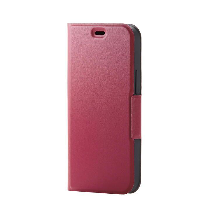 iPhoneケース 手帳 フラップ レザー 薄型 ウルトラスリムタイプ レッド iPhone 12 mini_0