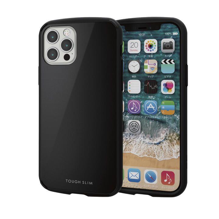 iPhoneケース 耐衝撃 TPU 背面 ポリカーボネート ブラック iPhone 12/iPhone 12 Pro_0