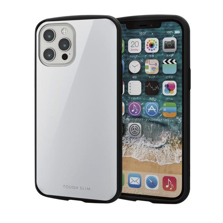 iPhoneケース 耐衝撃 TPU 背面 ポリカーボネート ホワイト iPhone 12 Pro Max_0
