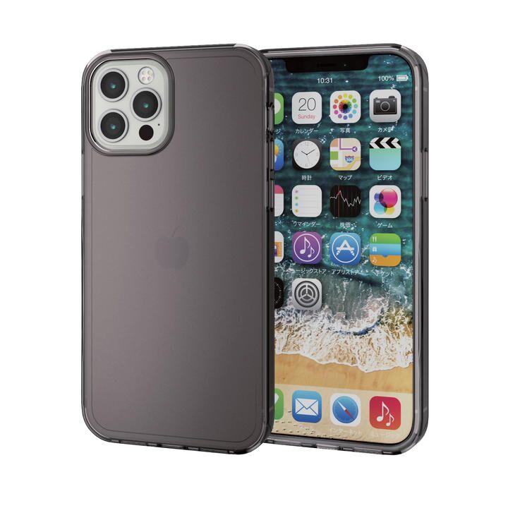 iPhoneケース 耐衝撃 シリコン ポリカーボネート ブラック iPhone 12/iPhone 12 Pro_0