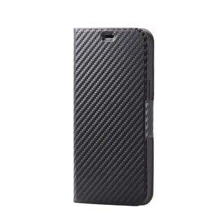 iPhone 12 Pro Max (6.7インチ) ケース iPhoneケース 手帳 フラップ レザー 薄型 ウルトラスリムタイプ カーボン調(ブラック) iPhone 12 Pro Max