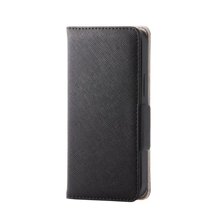 iPhoneケース 手帳 フラップ レザー マグネット ブラック iPhone 12 mini_0