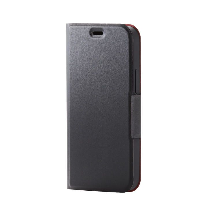 iPhoneケース 手帳 フラップ レザー 薄型 ウルトラスリムタイプ ブラック iPhone 12 mini_0