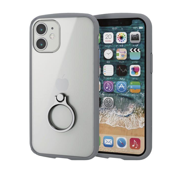 iPhoneケース フレームカラー スマホリング 耐衝撃 TPU グレー iPhone 12 mini_0