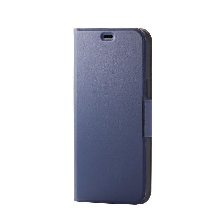 iPhoneケース 手帳 フラップ レザー 薄型 ウルトラスリムタイプ ネイビー iPhone 12 Pro Max_0
