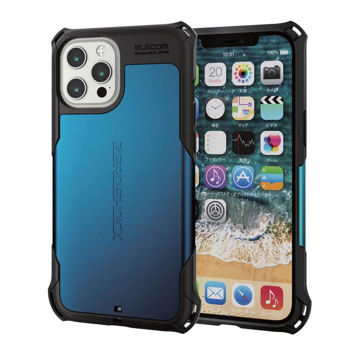 iPhoneケース ゼロショック ZEROSHOCK 耐衝撃 TPU ブルー iPhone 12 Pro Max_0