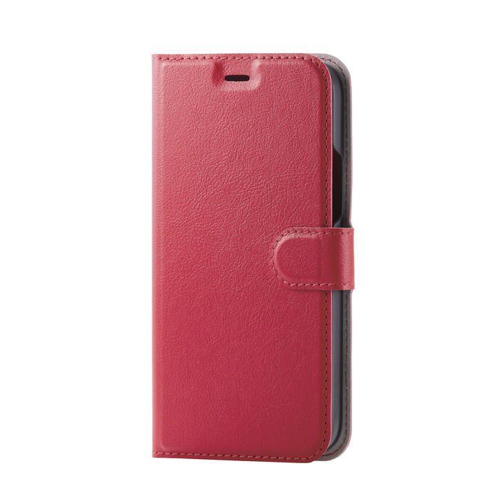 iPhoneケース 手帳 フラップ レザー ステッチ レッド iPhone 12/iPhone 12 Pro_0