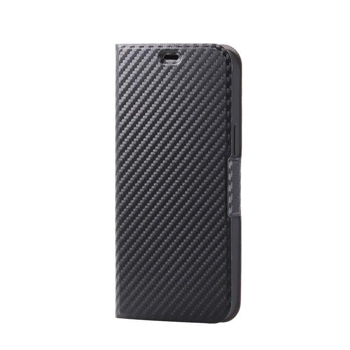 iPhoneケース 手帳 フラップ レザー 薄型 ウルトラスリムタイプ カーボン調(ブラック) iPhone 12 Pro Max_0