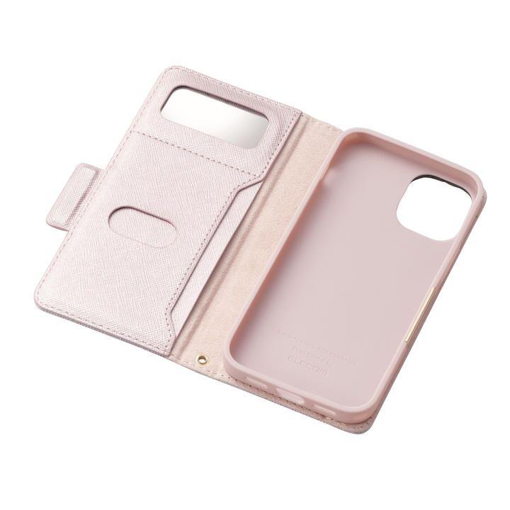 iPhoneケース 手帳 フラップ レザー マグネット ライトピンク iPhone 12 mini_0