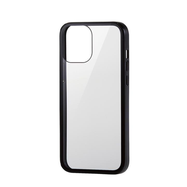 iPhoneケース フルカバー 背面ガラス ガラスフィルム ブラック iPhone 12 Pro Max_0