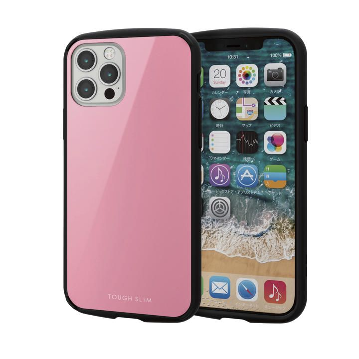 iPhoneケース 耐衝撃 TPU 背面 ポリカーボネート ピンク iPhone 12/iPhone 12 Pro_0