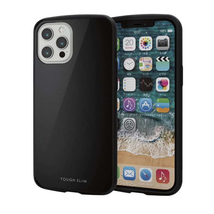 iPhoneケース 耐衝撃 TPU 背面 ポリカーボネート ブラック iPhone 12 Pro Max_0