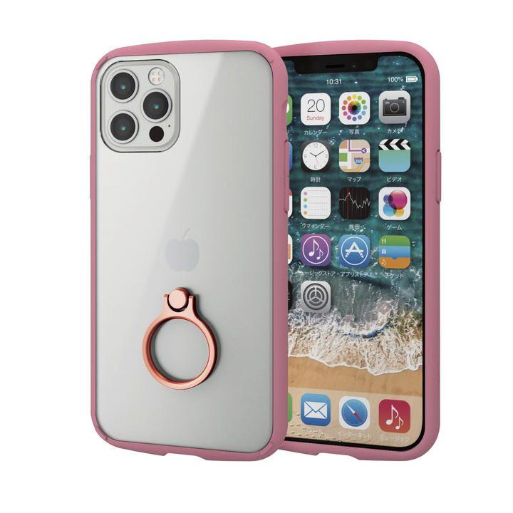 iPhoneケース フレームカラー リング 耐衝撃 TPU ピンク iPhone 12/iPhone 12 Pro_0