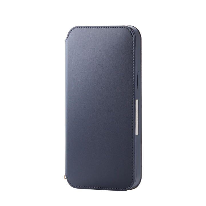iPhoneケース 手帳 フラップ レザー 薄型 ネイビー iPhone 12 Pro Max_0