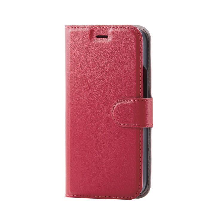 iPhoneケース 手帳 フラップ レザー ステッチ レッド iPhone 12 mini_0
