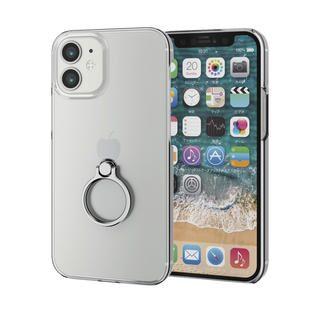 iPhone 12 mini (5.4インチ) ケース iPhoneケース シェルケース ポリカーボネート 薄型 リング付シェルケース シルバー iPhone 12 mini