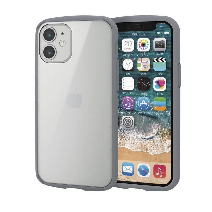 iPhoneケース フレームカラー 耐衝撃 TPU 背面 グレー iPhone 12 mini_0