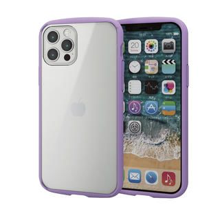 iPhone 12 / iPhone 12 Pro (6.1インチ) ケース iPhoneケース フレームカラー 耐衝撃 TPU 背面 パープル iPhone 12/iPhone 12 Pro