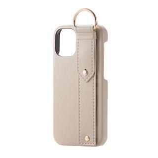 iPhone 12 mini (5.4インチ) ケース iPhoneケース レザー ベルト 落下防止 ストラップホルダー ベージュ iPhone 12 mini
