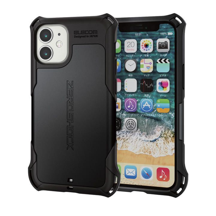 iPhoneケース ゼロショック ZEROSHOCK 耐衝撃 TPU ブラック iPhone 12 mini_0