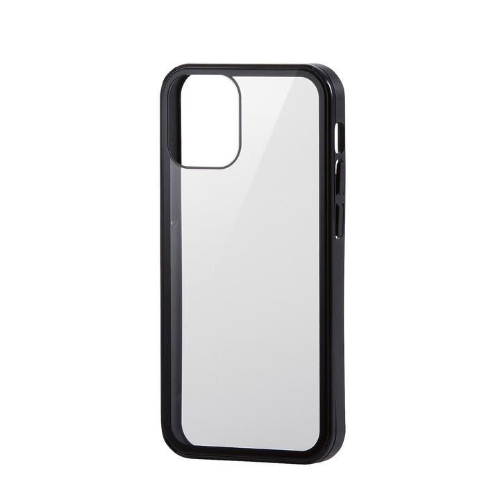 iPhoneケース フルカバー 背面ガラス ガラスフィルム ブラック iPhone 12 mini_0