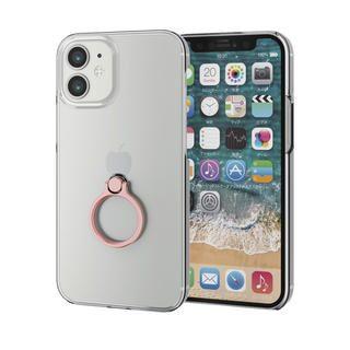 iPhone 12 mini (5.4インチ) ケース iPhoneケース シェルケース ポリカーボネート 薄型 リング付シェルケース ピンク iPhone 12 mini