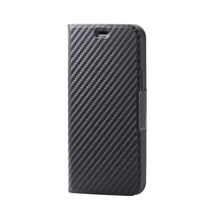 iPhoneケース 手帳 フラップ レザー 薄型 スリムタイプ カーボン調(ブラック) iPhone 12/iPhone 12 Pro_0