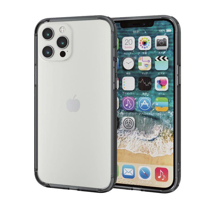 iPhoneケース バンパー 耐衝撃 ポリカーボネート TPU ブラック iPhone 12 Pro Max_0