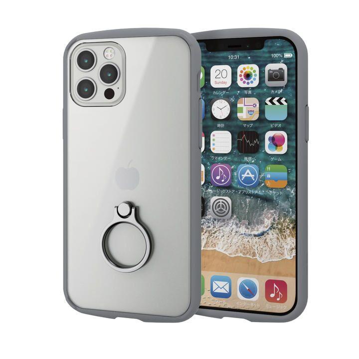 iPhoneケース フレームカラー リング 耐衝撃 TPU グレー iPhone 12/iPhone 12 Pro_0