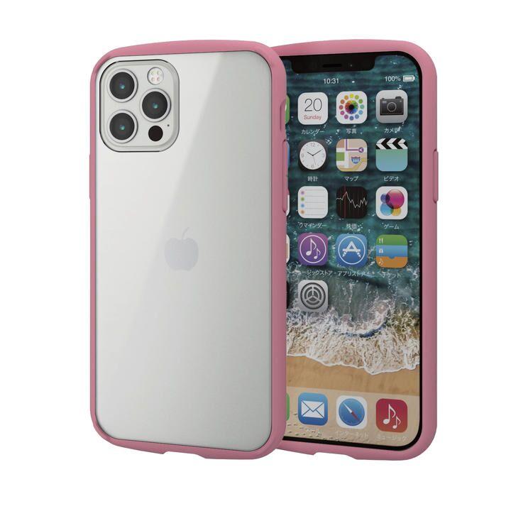 iPhoneケース フレームカラー 耐衝撃 TPU 背面 ピンク iPhone 12/iPhone 12 Pro_0