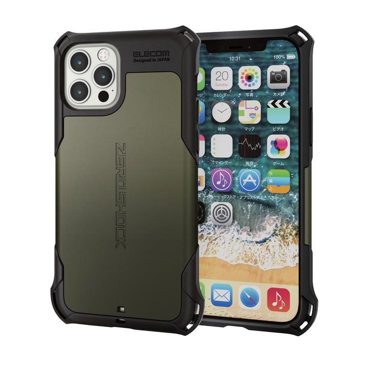 iPhoneケース ゼロショック ZEROSHOCK 耐衝撃 TPU カーキ iPhone 12/iPhone 12 Pro_0