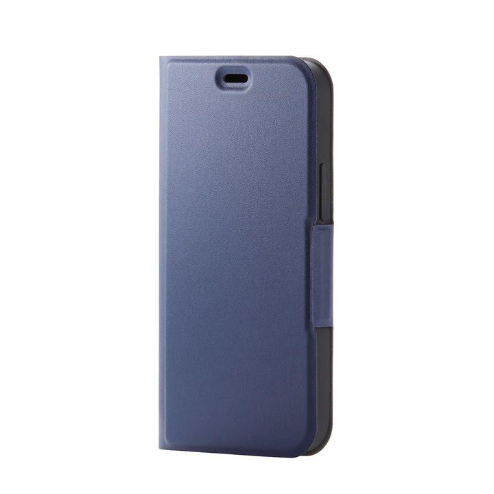 iPhoneケース 手帳 フラップ レザー 薄型 ウルトラスリムタイプ ネイビー iPhone 12 mini_0